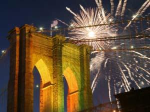 Fireworks Display at Brooklyn Bridge 125th Anniversary