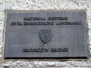 Plaque Designating the Brooklyn Bridge as a National Historic Civil Engineering Monument