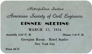 1954 ASCE Metropolitan Section Dinner Meeting Card