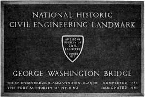 George Washington Bridge Plaque