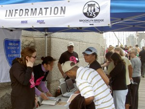 The ASCE information booths on the towers of the Brooklyn Bridge were filled with visitors throughout the day